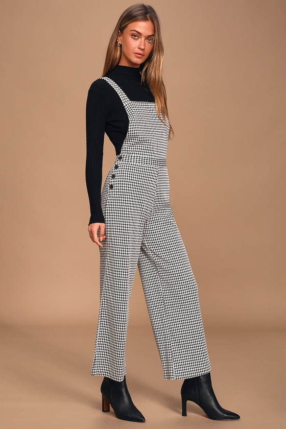 Amuse Society Romy Black and White Houndstooth Jumpsuit