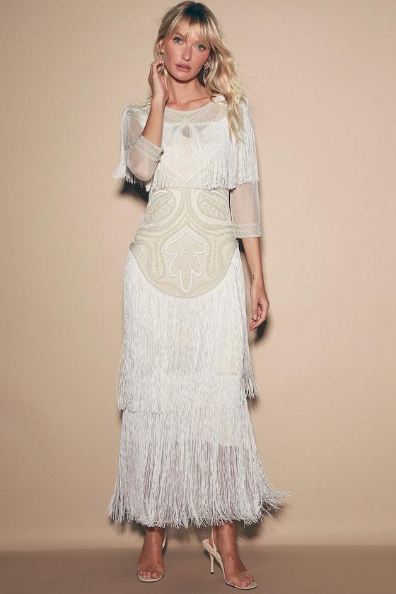 Glam Cream Beaded Fringe Maxi Dress