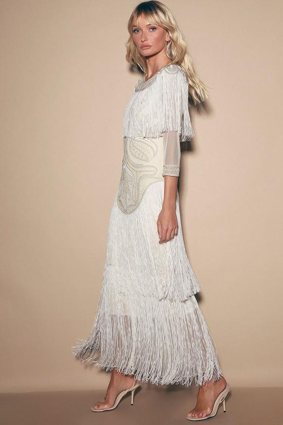 1920s Wedding Dresses- Art Deco Wedding Dress, Gatsby Wedding Dress Glam Cream Beaded Fringe Maxi Dress - Lulus $190.00 AT vintagedancer.com
