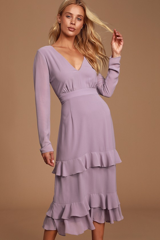 1920s Day Dresses, Tea Dresses, Mature Dresses with Sleeves Sway This Way Dusty Purple Ruffled Long Sleeve Midi Dress - Lulus $68.00 AT vintagedancer.com