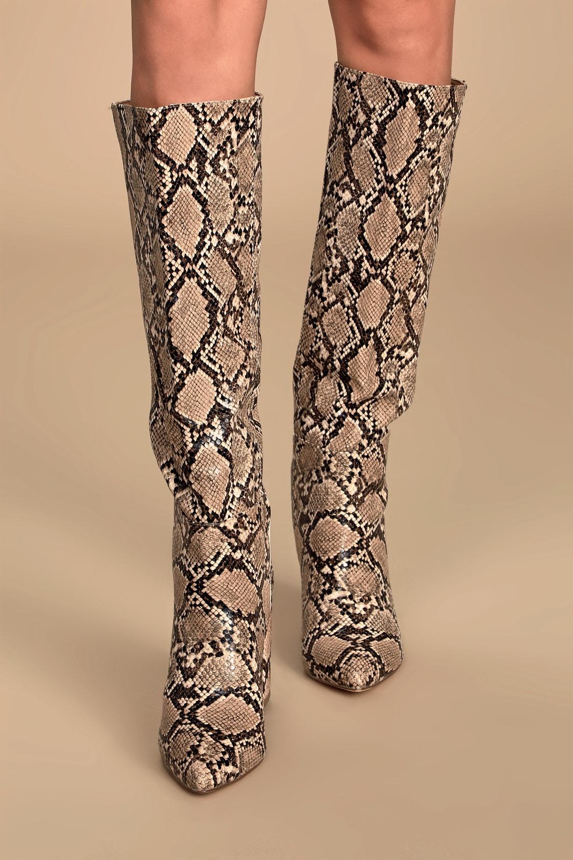 Katari Tan Snake Pointed-Toe Knee High Boots