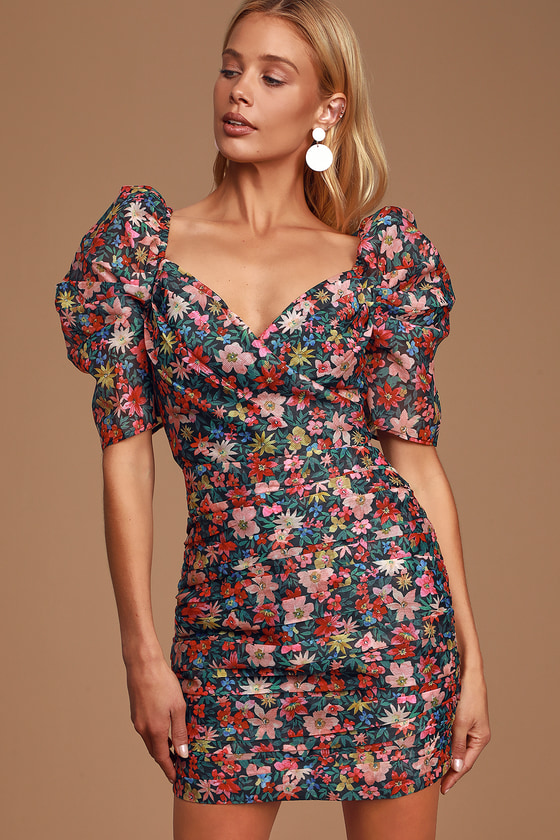 And Ever More Black Floral Print Puff Sleeve Bodycon Dress