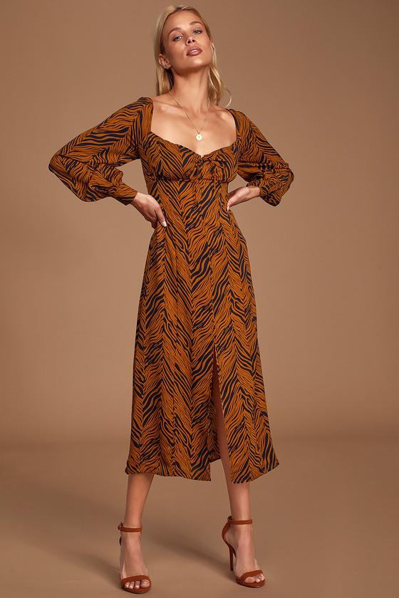 Living In Harmony Rust Orange Zebra Print Long Sleeve Midi Dress