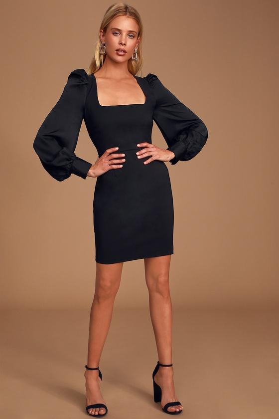 Longtime Crush Black Puff Shoulder Long Sleeve Mini Dress