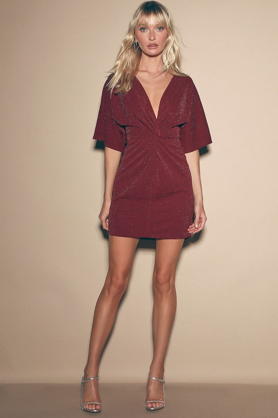 Sleepless Nights Burgundy Short Sleeve Knotted Dress