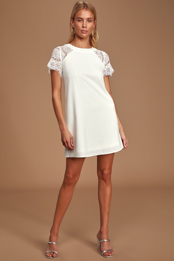 60s Wedding Dresses | 70s Wedding Dresses Hey There Cutie White Lace Shift Dress - Lulus $68.00 AT vintagedancer.com