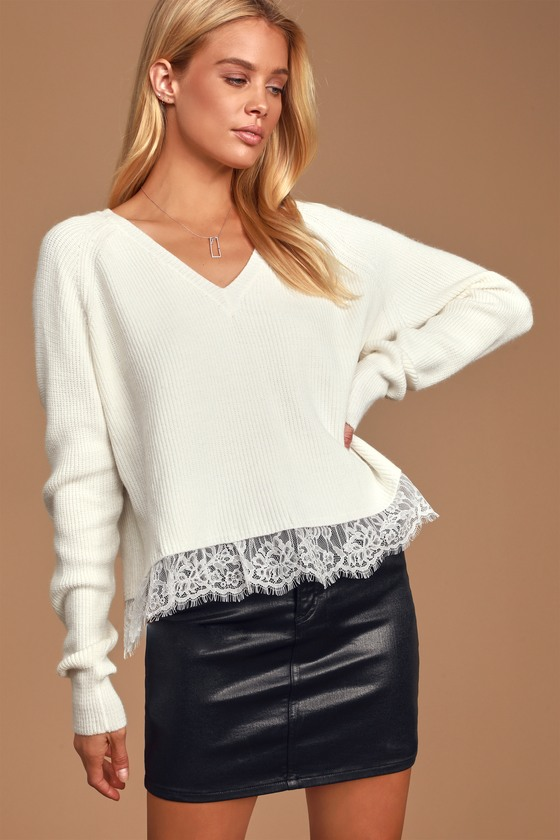 Warms Your Heart White Lace V-Neck Sweater