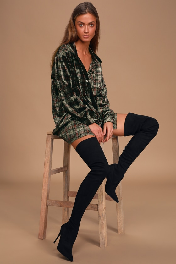 Dress Code Olive Green Plaid Velvet Button-Up Shirt Dress