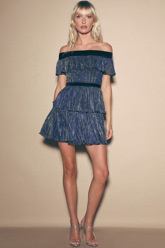 Totally Glam Navy Blue Metallic Tiered Off-The-Shoulder Dress