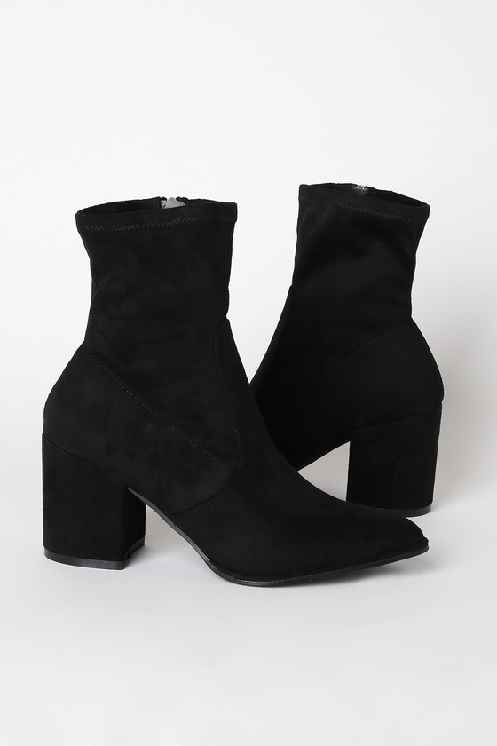 Cute Black Boots - Suede Boots - Sock