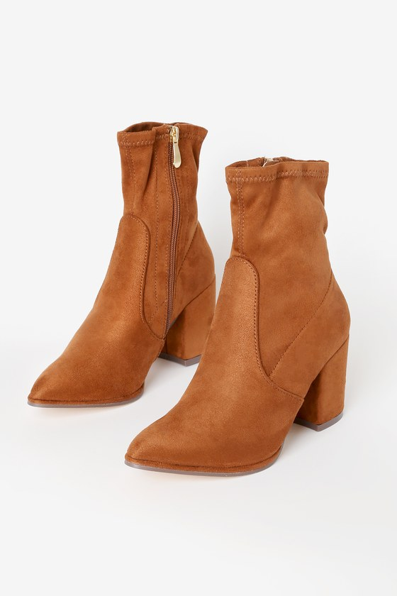 Viviyana Rust Suede Ankle Sock Boots