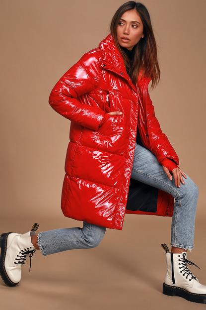 Take To the Streets Bright Red Long Vinyl Puffer Jacket