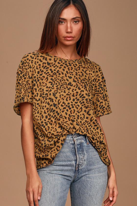 Free People Clarity Tan Cheetah Print Ringer Tee Shirt
