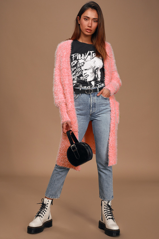 Vivid Love Neon Pink Eyelash Knit Cardigan Sweater by Lulus