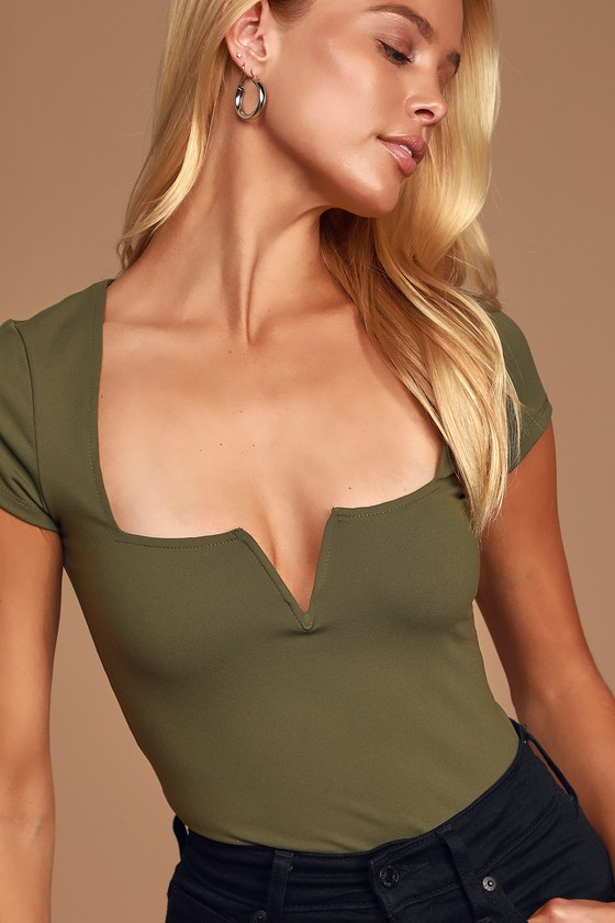 Mirabelle Olive Green Notched Bodysuit
