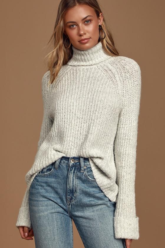 Warmed Up Heather White Long Sleeve Turtleneck Sweater
