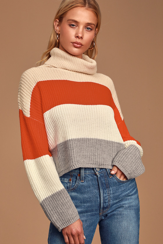 Stepping It Up Cream Multi Color Block Knit Turtleneck Sweater