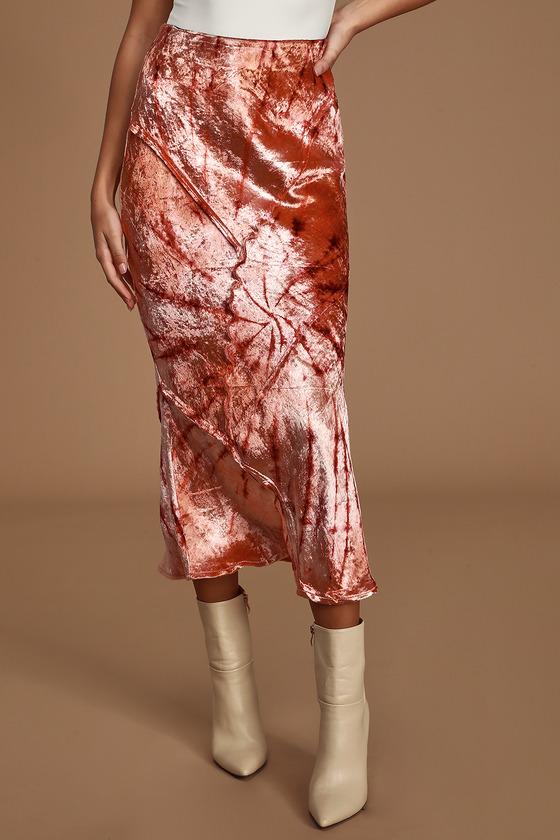 Free People Serious Swagger Pink Tie-Dye Velvet Midi Skirt