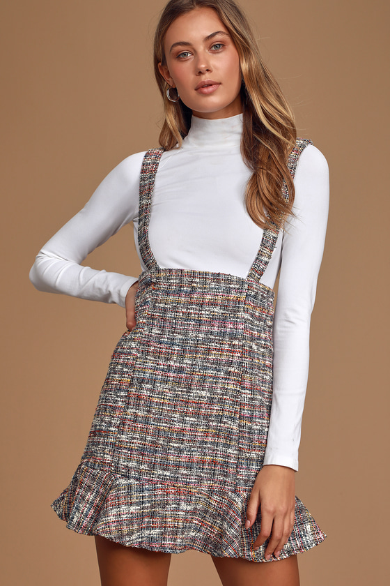 Class and Charm Black Multi Boucle Ruffled Suspender Skirt