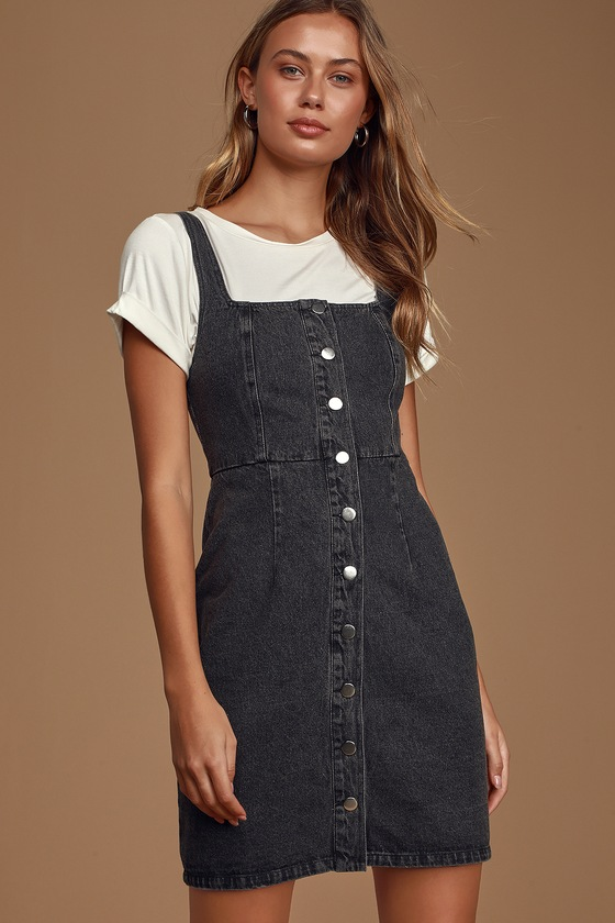 Corra Washed Black Denim Button-Front Mini Dress