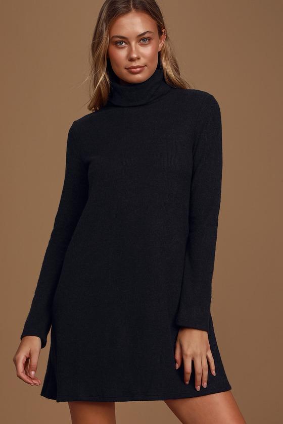 Alaina Black Long Sleeve Turtleneck Sweater Dress