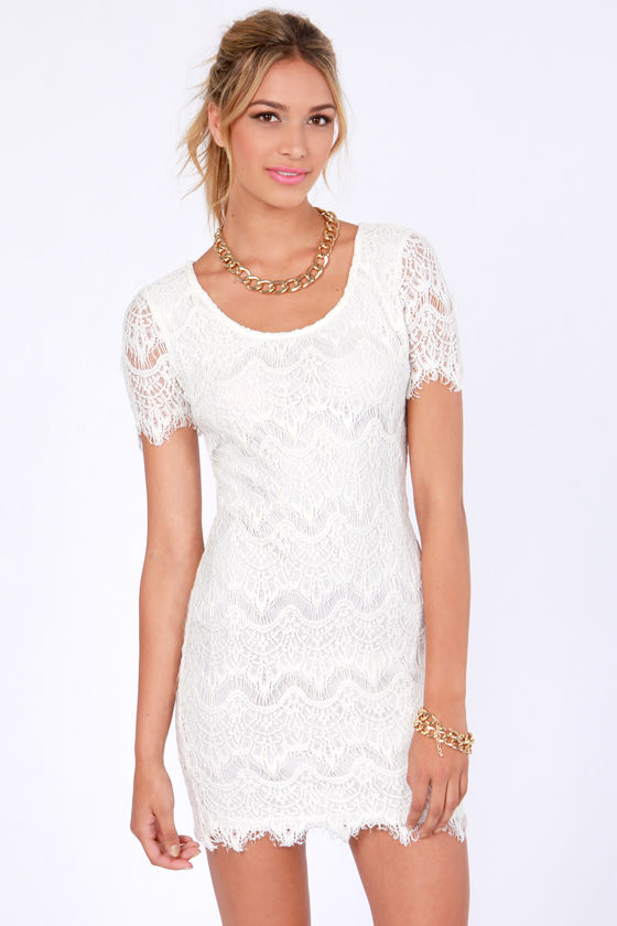 Pretty Lace Dress - White Dress - Sheath Dress - Short Sleeve ...