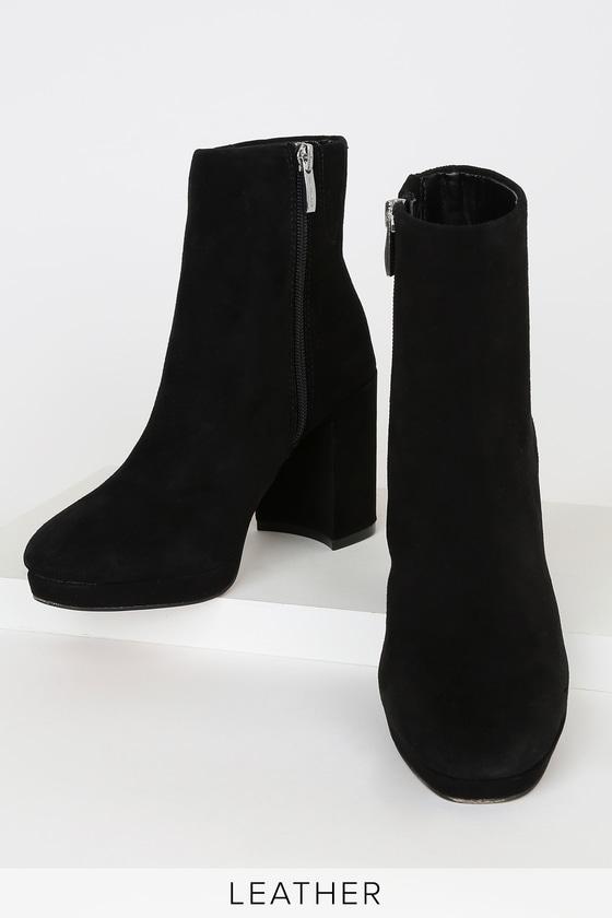 Vespa Black Suede Leather Platform Ankle Boots