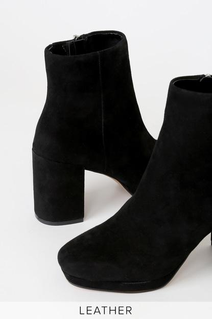 Steven Vespa Black Suede Leather Platform Ankle Boots