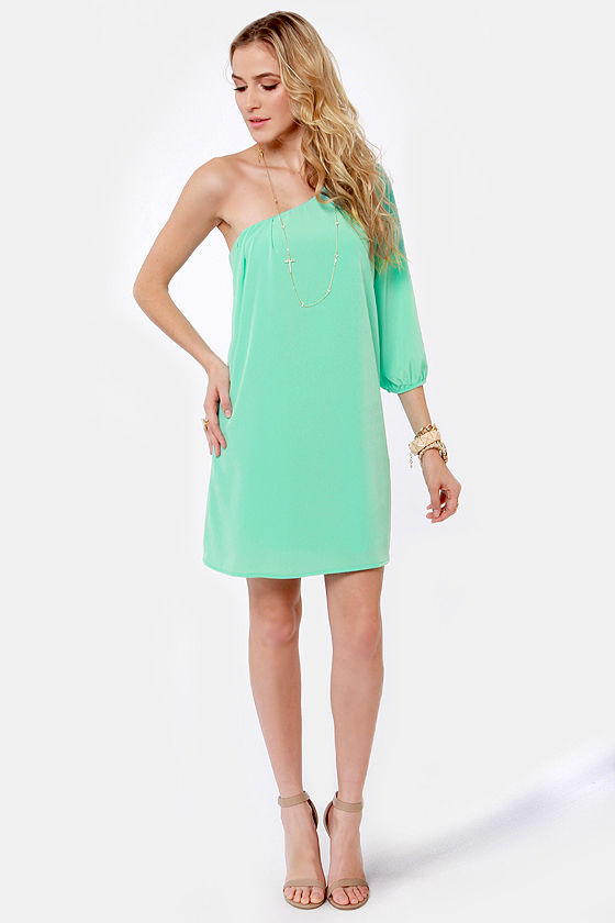 Aqua One Shoulder Dress