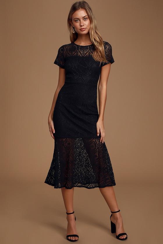 New York Minute Black Lace Midi Trumpet Dress