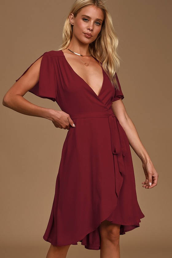 Rise to the Occasion Burgundy Midi Wrap Dress
