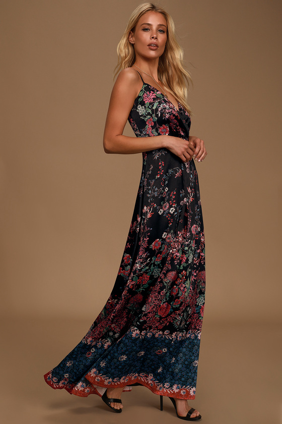 Cute Black Floral Dress - Floral Print Maxi Dress - Satin Maxi