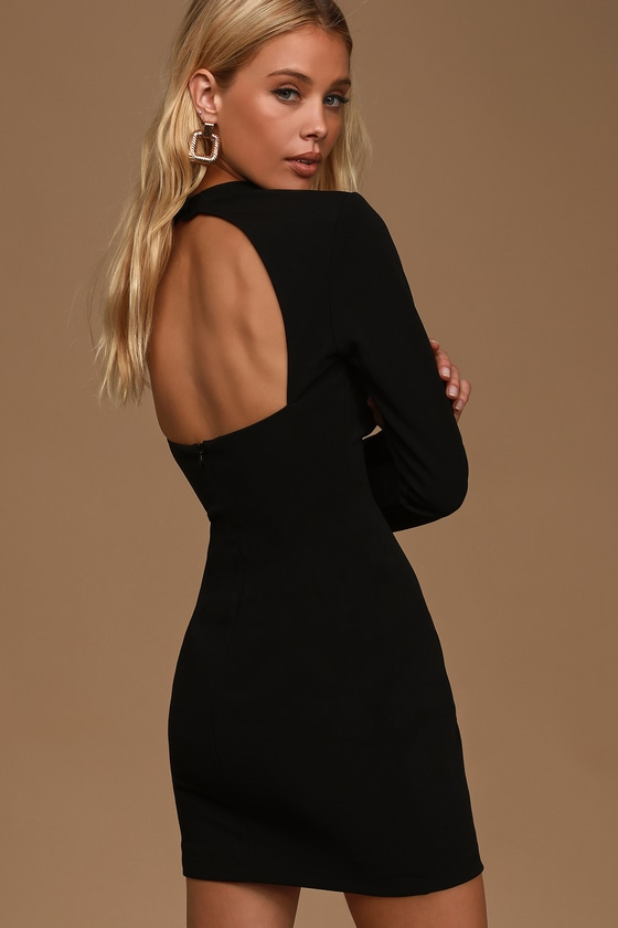 All That You Wish For Black Mock Neck Cutout Bodycon Dress