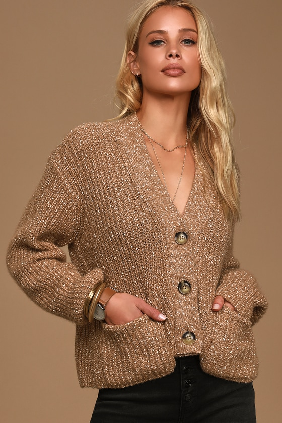 Speckle Occasion Camel Cropped Cardigan Sweater