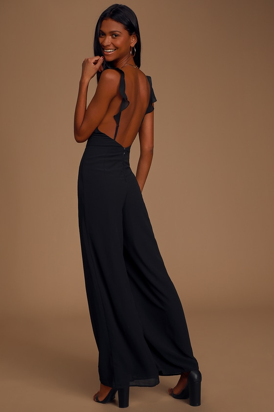 Chic Your Mind Black Ruffled Wide-Leg Jumpsuit