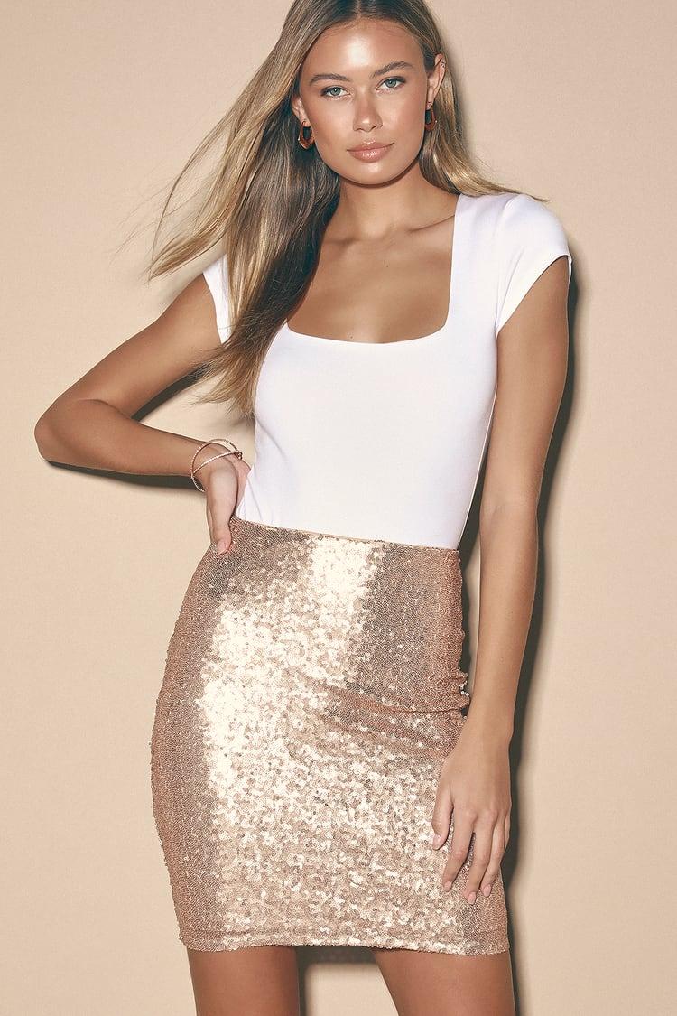 Love Me Now Matte Rose Gold Sequin Mini Skirt