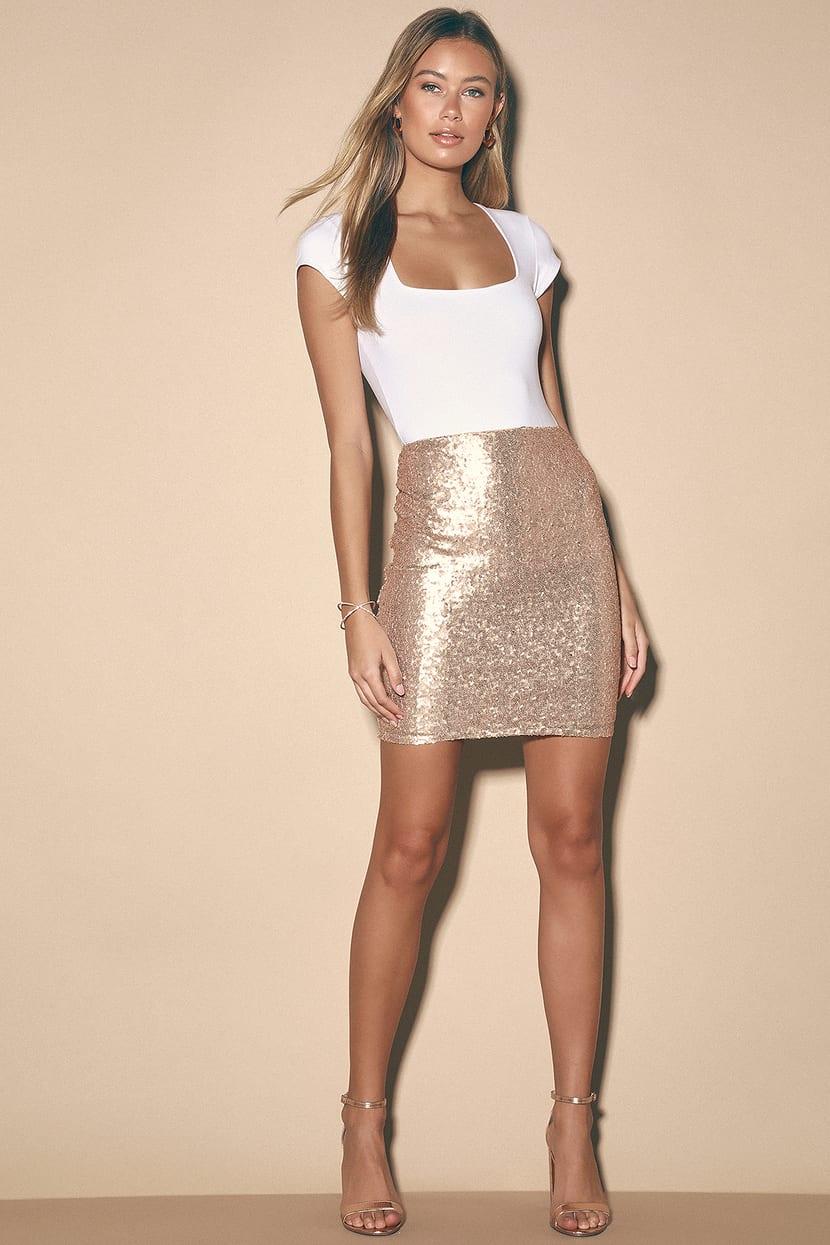 Mini skirts from90 Rose Gold Skirt Matte Sequin Skirt Champagne Skirt Lulus