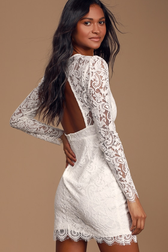 Blind Date White Lace Long Sleeve Bodycon Dress