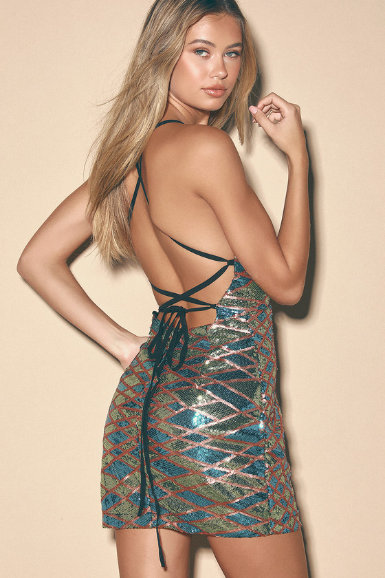 Glow With The Flow Multi Sequin Lace-Up Mini Dress