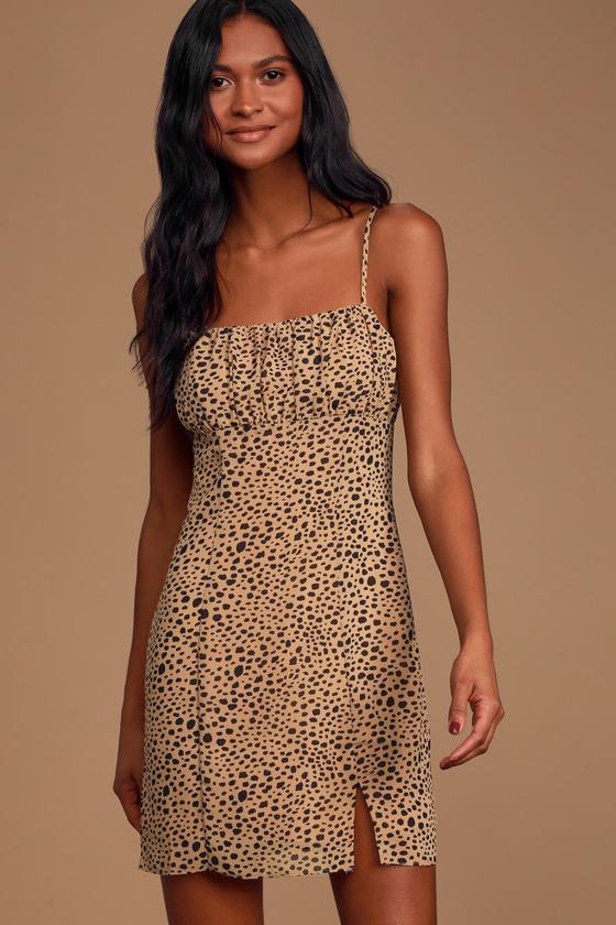 Always Cool Tan Cheetah Print Mini Dress
