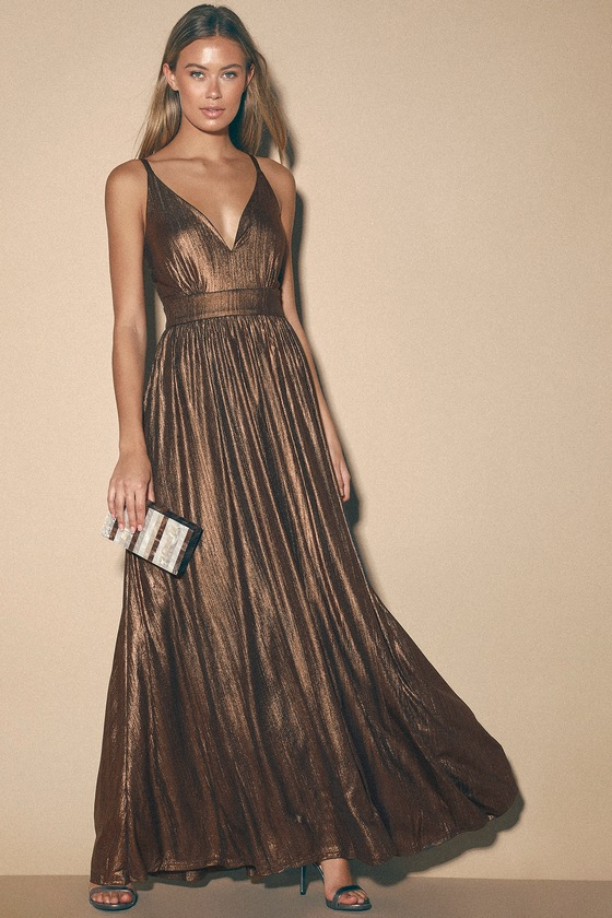 High Profile Bronze Metallic Maxi Dress