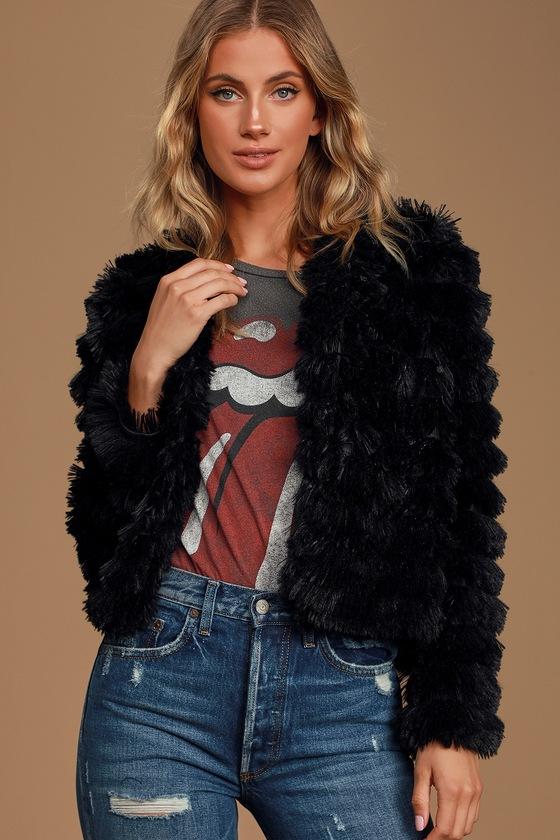 Sage The Label Prism Black Faux Fur Fringe Jacket