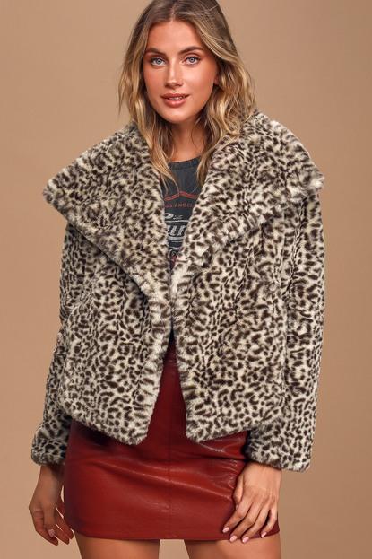 Band Of Gypsies S'il Vous Plait Beige Leopard Print Faux Fur Jacket