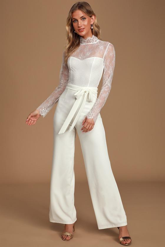70s Clothes | Hippie Clothes & Outfits Loving Expression White Lace Mock Neck Long Sleeve Jumpsuit  Lulus $78.00 AT vintagedancer.com