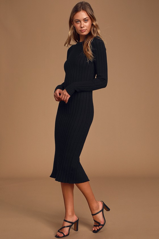 The Best Yet Black Ribbed Bodycon Sweater Dress