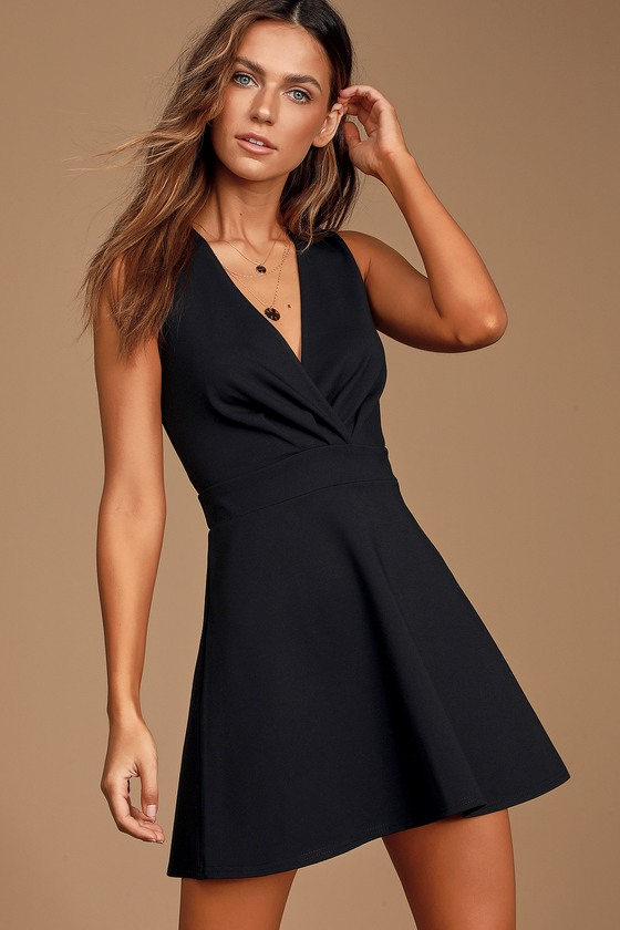 The Simple Things Black Sleeveless Skater Dress