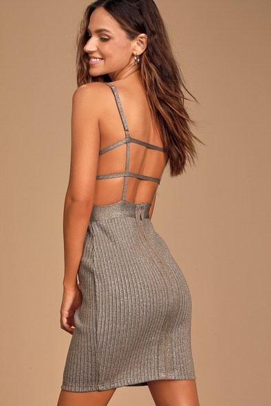 Sparkling Bright Taupe Metallic Ribbed Bodycon Mini Dress