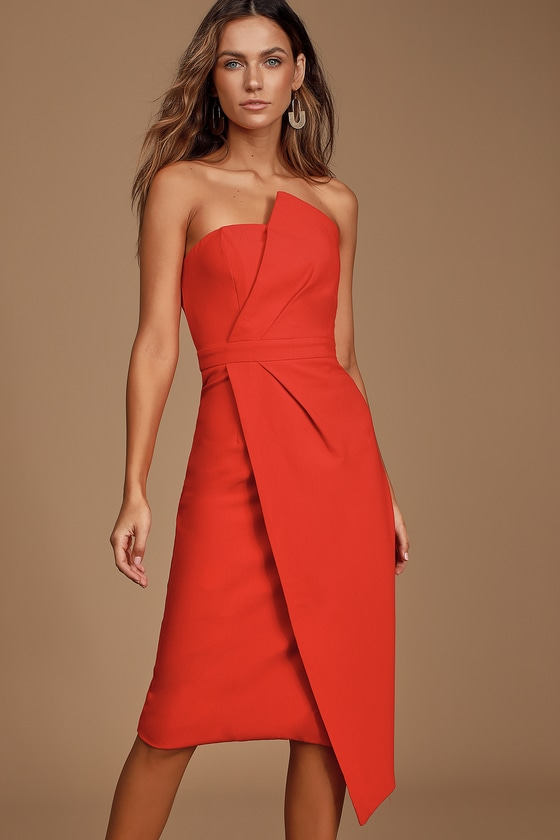 Never Been Better Red Strapless Midi Dress