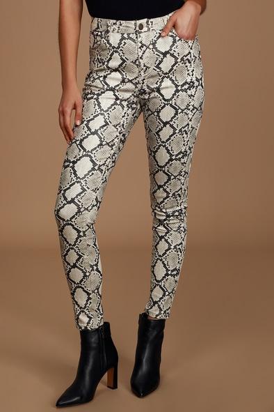 Python White Coated Denim High Rise Skinny Jeans