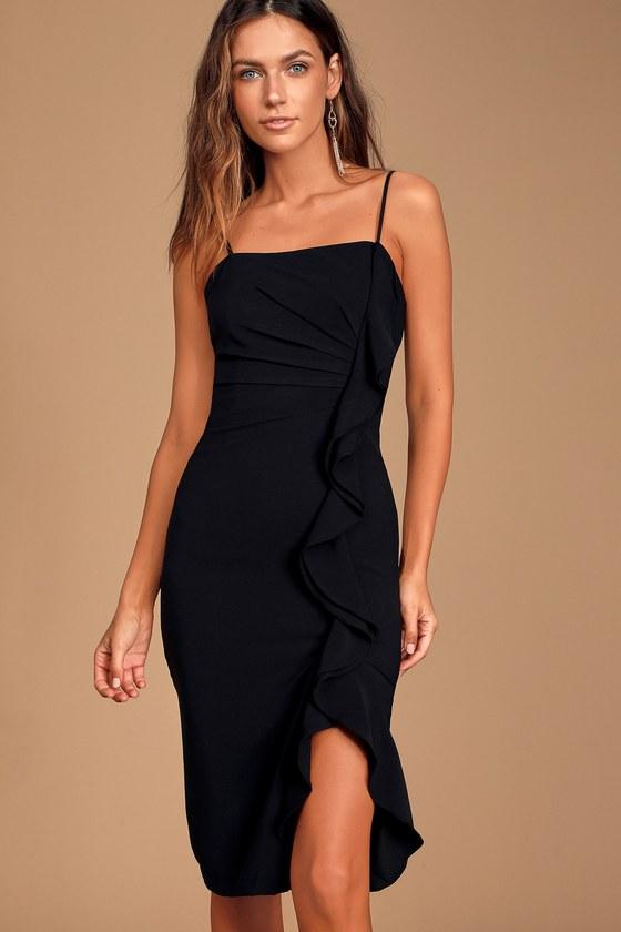 Stunning Success Black Ruffled Bodycon Midi Dress